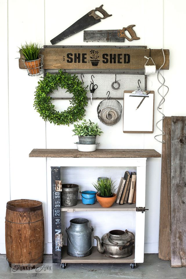 She Shed soil sifter gardening station sign with Funky Junk's Old Sign Stencils   funkyjunkinteriors.net