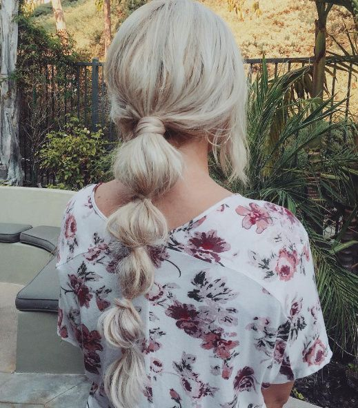Long, blonde ponytail in sections.