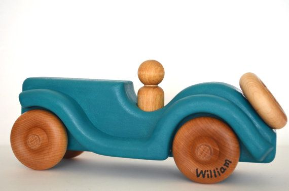 Personalized Wood Toy Car  Ocean Blue  Waldorf by hcwoodcraft, $30.00