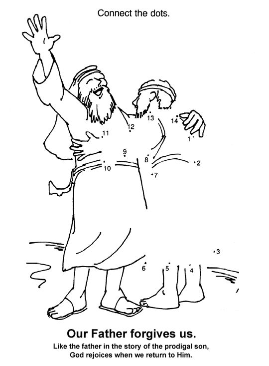 prodigal son dot to dot coloring page pew bags