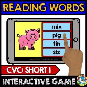 SHORT I READING GAME (PHONICS KINDERGARTEN ACTIVITIES) CVC WORDS DIGITAL TASK CARDS  A fun game where children look at the picture and select and click the corresponding word. Perfect to practice reading cvc words (short i) and to enhance vocabulary.  Keywords: phonics game, cvc word work, cvc digital task cards, kindergarten literacy, kindergarten reading center, kindergarten reading game, reading short i words, short i digital task cards