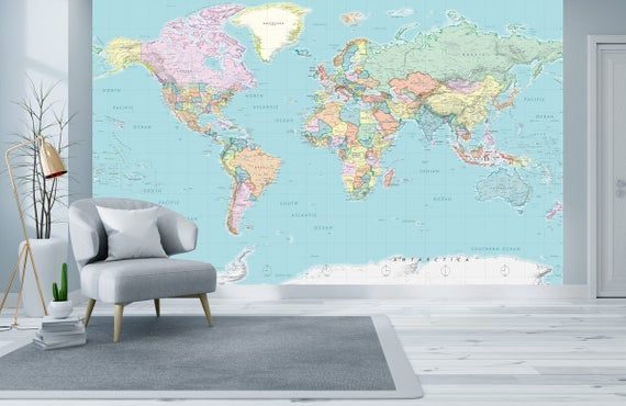 Detailed World Political Map Wall Mural World Map Wallpaper Etsy Map Wall Mural World Map Mural World Map Wallpaper