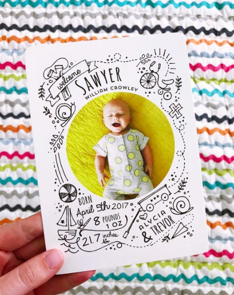 A birth announcement design inspired by all of the wonderful things that make up a little boy's world. Black and white illustrations with circular photo in the center. Available on Minted.com. By Minted artist, Jeanna Casper. Photography: @alyciagrayce