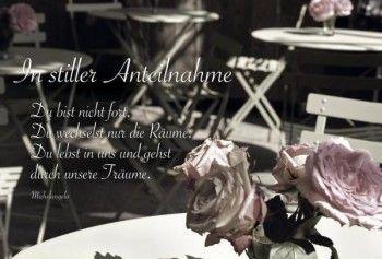 Trauerkarte mit Beileidsspruch; In stiller Anteilnahme, Blume