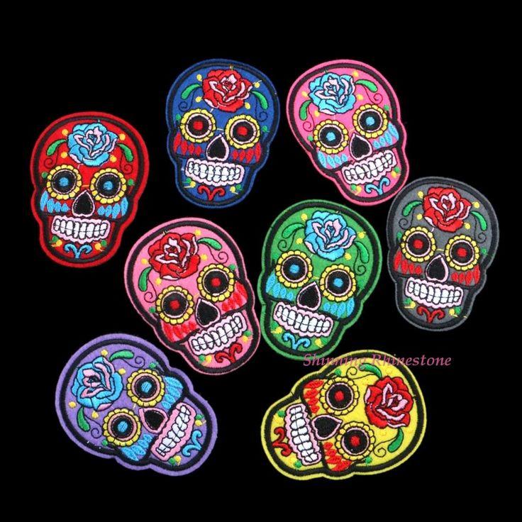 8 stks/partij gemengde schedel kleding patch diy bloemrijke skelet geborduurde patches ijzer op stof badges naai doek applique