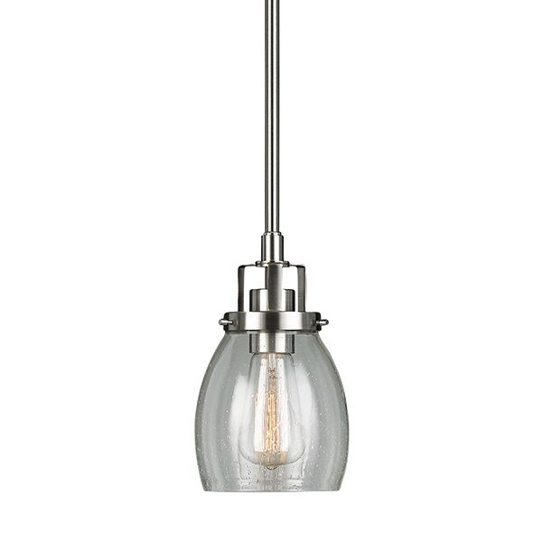 This 1 light, brushed chrome with clear seeded glass pendant adds elegance to any kitchen, and is beautiful  to hang on either side of your basins in the powder room or master ensuite of your house. As part of the Dayton family, the styling is reflective of a more traditional era, with reflections of early American gas lights with a softer masculine look. The clear seeded glass completes the look to give you a fixture that works in modern industrial homes as well as a more traditional…
