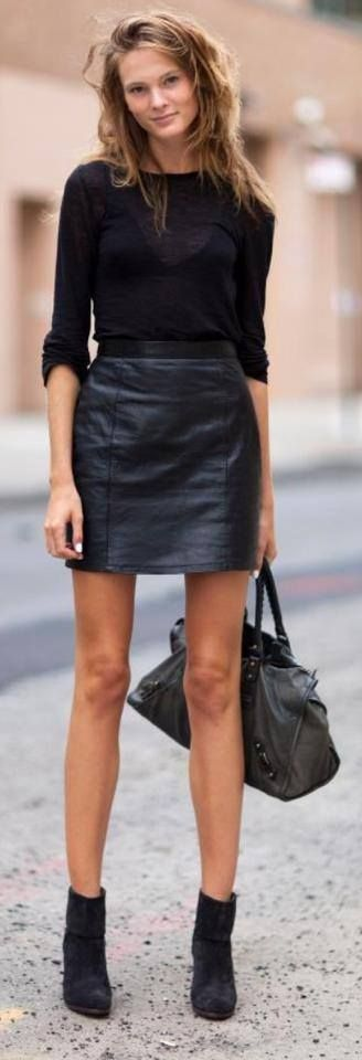How can I wear a leather skirt for work?