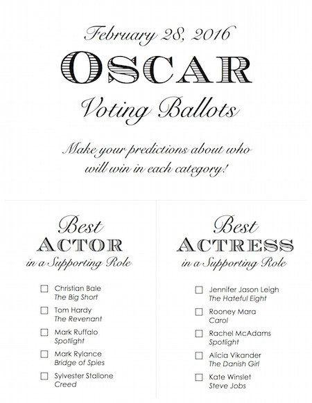 Printable Oscar Voting Ballots 2016  by RittenhouseTrades