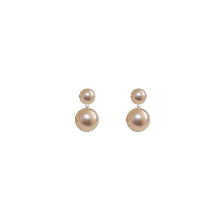 Elegant and romantic: ORA Pearls duet pearl earrings pinky gold pearls.