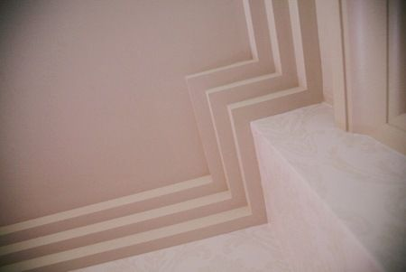Art Deco stepped plaster cornice moulding
