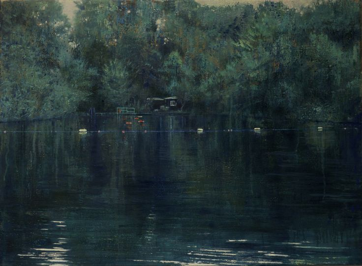 isabella werkhoven - dead calm (london pond #3), 2015, acrylic and oil on linen, 55 x 75 cm.