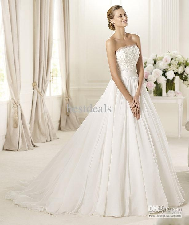 Wholesale New Arrival2012 New Sexy Sweetheart Applique Chiffon Elegant Ball Gown Wedding Dresses PR03015, $138.05-151.51/Piece | DHgate