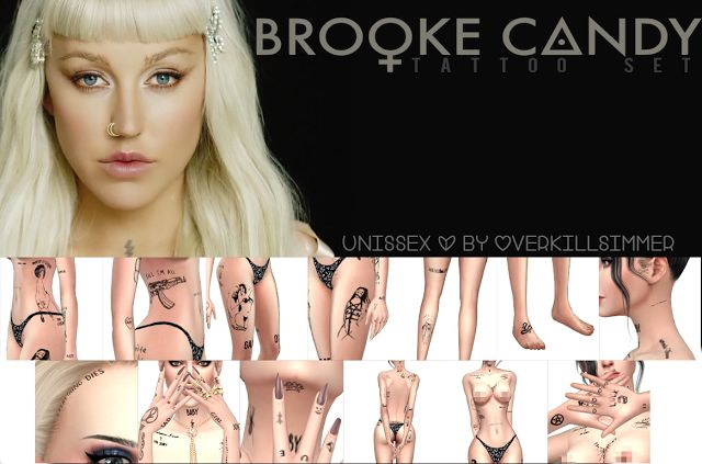 Sims 4 CC's - The Best: Brooke Candy Tattoo Set by Overkillsimmer