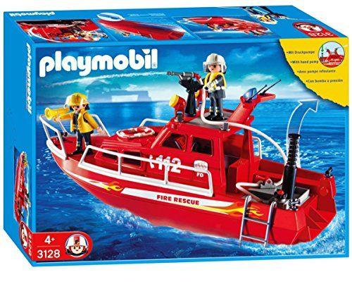 pompiers sauveteurs bateau playmobil