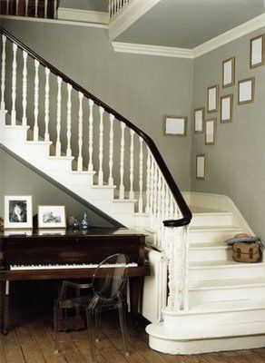 beautiful white stairway & nice wall colour
