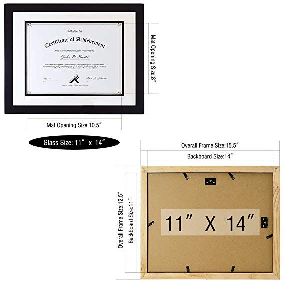 Amazon Com Golden State Art Black Color 11x14 Document Photo Wood Frame With White Over Black Mat For 8 5x11 Document Certif State Art Frame 11x14 Frame