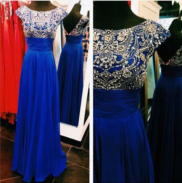 2016 Royal Blue Chiffon A Line Long Prom Dresses Scoop Bead Cap Sleeves Vestido De Fiesta Prom Party Dresses Special Occasion Dresses Cheap Prom Dress Websites Cheap Prom Dresses Canada From Aprildress01, $134.68| Dhgate.Com