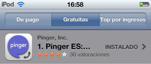 Pinger, aplicación gratuita para llamar y enviar sms gratis.