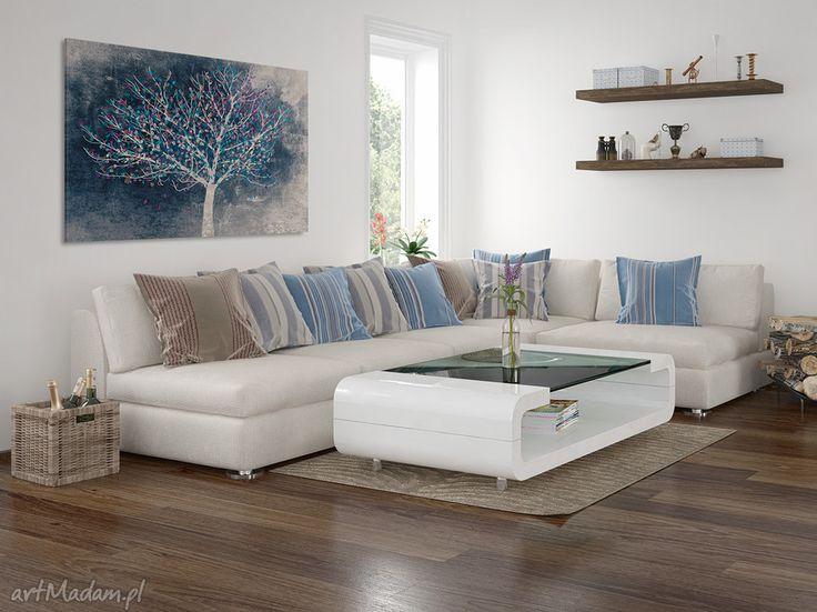 niebieskie obrazy drzewo obraz na płótnie - liście