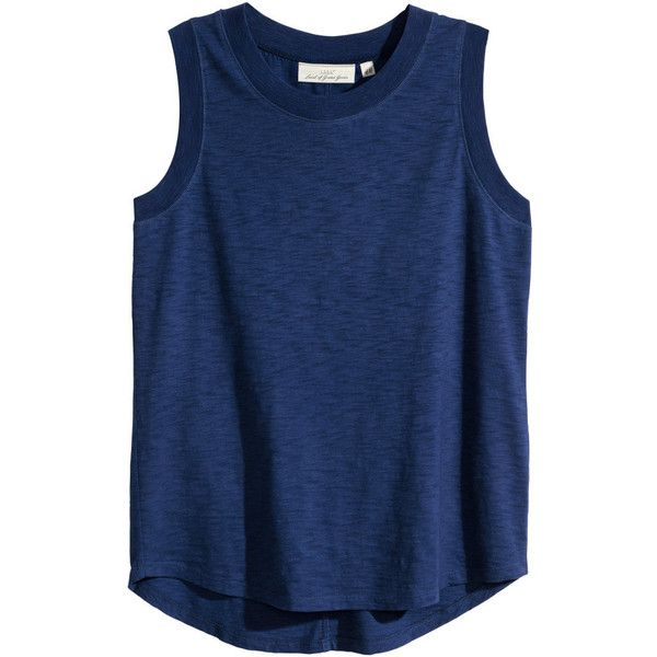 H&M Sleeveless top in slub jersey (£13) ❤ liked on Polyvore featuring tops, shirts, tank tops, tanks, dark blue, sleeveless tops, h&m, blue tank top, sleeveless tank tops and sleeve less shirts