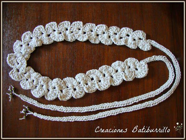Un cinturón de crochet... ¡con ondas alternas!