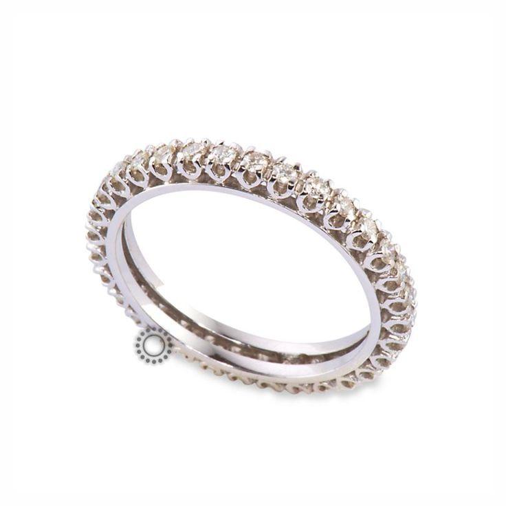 Κλασικό ολόβερο σειρέ δαχτυλίδι με διαμάντια μπριγιάν από λευκόχρυσο Κ18 | Δαχτυλίδια με διαμάντια κοσμηματοπωλείο ΤΣΑΛΔΑΡΗΣ Χαλάνδρι #δαχτυλίδι #διαμάντια #σειρέ #rings #diamonds