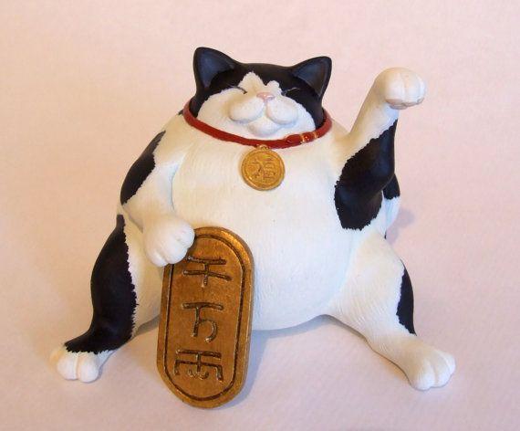 Super luckyfat  Original Maneki neko sculpture by Bakenekoya, £20.00