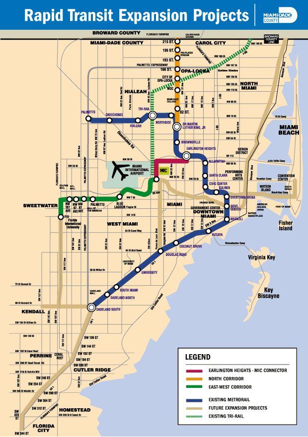 miami dade county rail expansion proposals. (miami metro