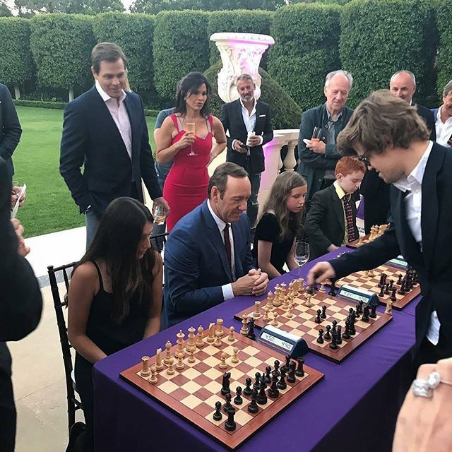 The legendary Magnus Carlsen (@magnus_carlsen) vs. Kevin Spacey (@kevinspacey) and 3 more!. #chess #chesslover #chessplayer #chessislove #chessislife #chessiscool #chessisfun #grandmaster #chessclub #planetchess #checkmate #check #chessgame #chessboard #magnuscarlsen #kevinspacey