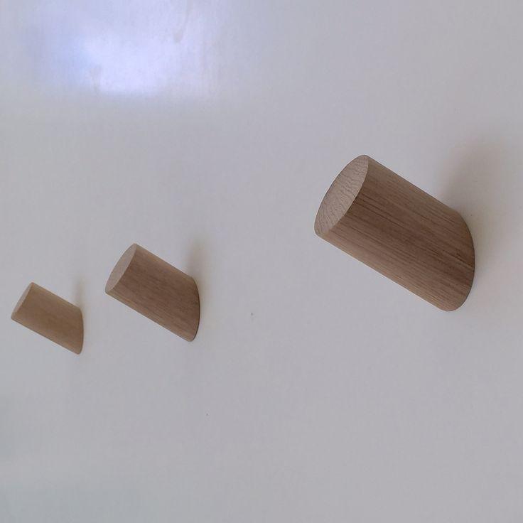 angled american oak wall hooks,