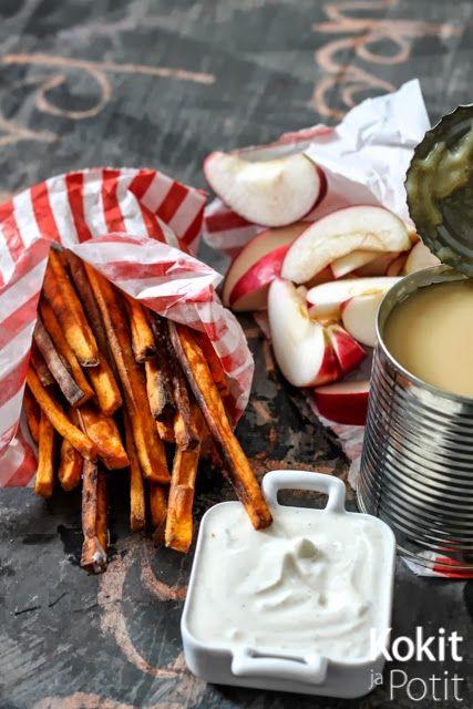 Kokit ja Potit: Suolaista ja makeaa Halloween-juhliin: Rapeat bataattiranskalaiset & kinuskissa dipattavat omenaveneet