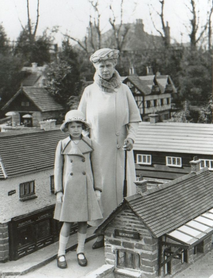 Princess Elizabeth with her grandmother, the widowed Queen Mary.
