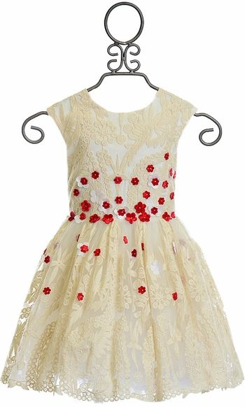 Halabaloo Ivory Dress with Red Flowers for Girls