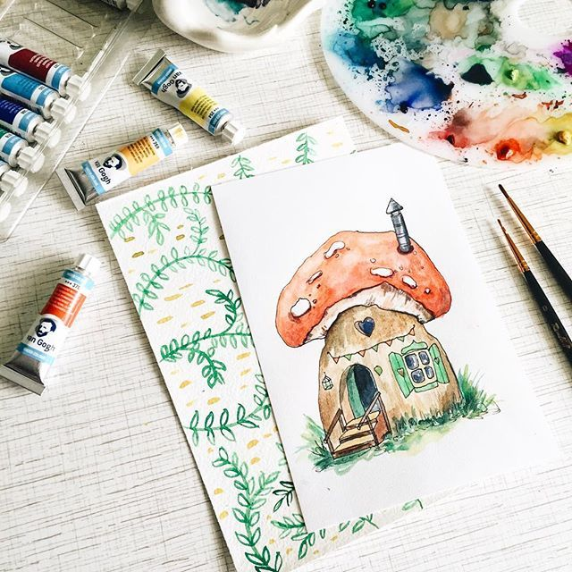 Продолжаю рисовать волшебные картинки. ✨ сегодня это грибок мухомор, маленькие эльфы обустроили в нем уютный домик с красивыми ставнями и окном сердечком #prokhorovaart