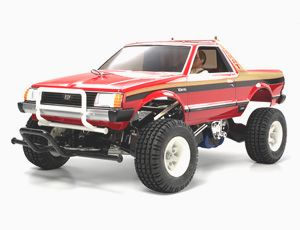 The Tamiya Subaru Brat in 1/10th scale brings back another R/C classic. The radio control truck kit comes with two bodyshells, one being the plastic, highly detailed body similar to the one which came with original radio control kit, the second is a modern poly carb shell to use to take the knocks.The 4-wheel independent suspension and 540 motor makes the Tamiya Subaru Brat rc truck great off road as well as on.