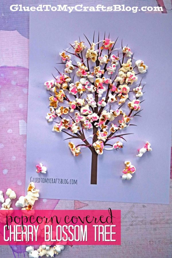 DIY Craft: Cherry Blossom Popcorn Tree Kid Craft w/free printable template - Spring Themed Craft Tutorial - Kids Crafts - Pop Into Spring!