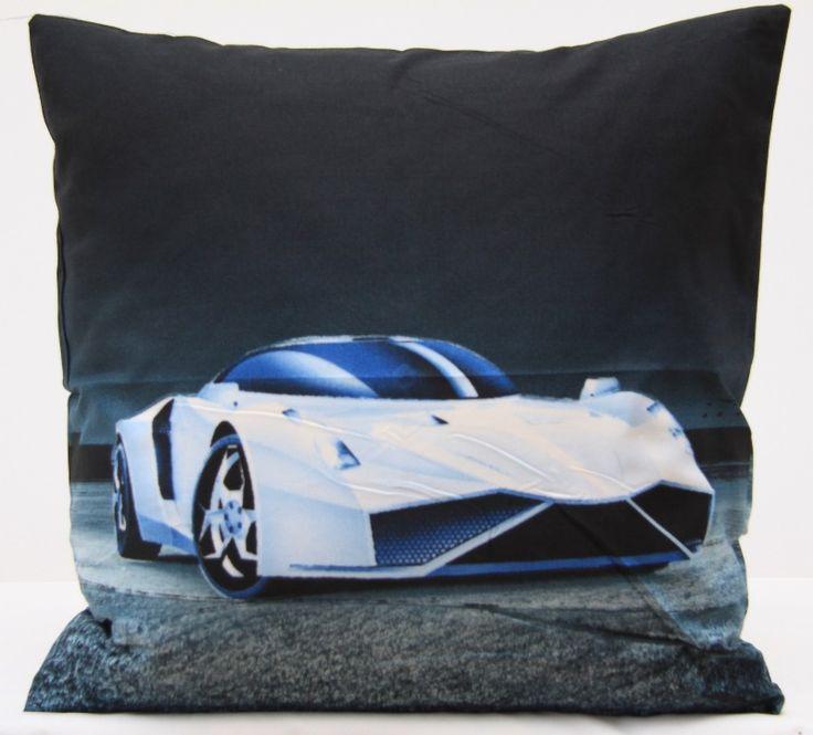Biały modny samochód czarna poszewka na poduszkę 40x40