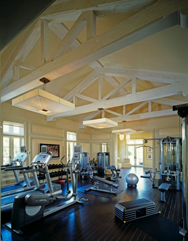 Amazing traditional home gym with life fitness gym equipment theme