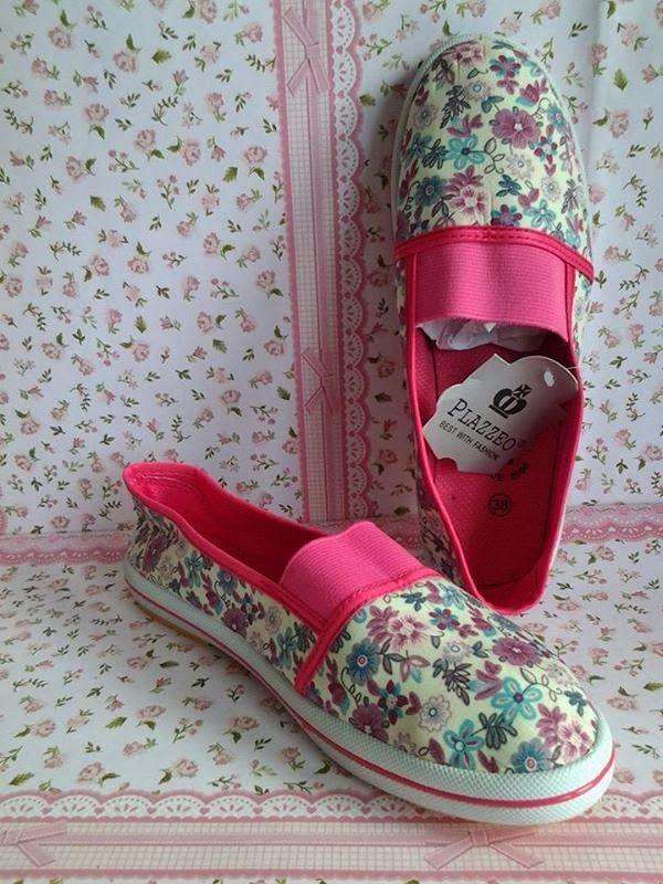 FLAT SHOES: Sepatu Toms Flower Pink