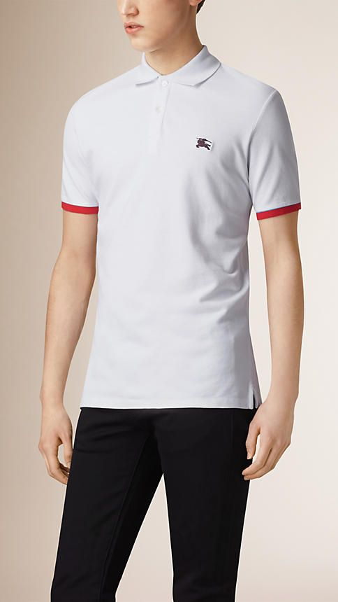 White Contrast Cuff Cotton Piqué Polo Shirt White - Image 1