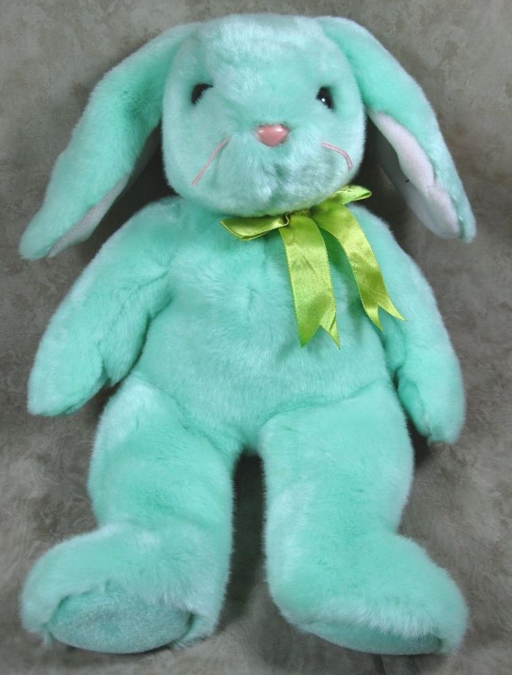 "Ty 14"" Original Green Plush Beanie Buddy Hippity Bunny w/Tags #Ty"