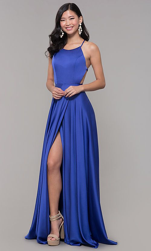 de80a2e26fe Long Open-Caged-Back Mock-Wrap Prom Dress