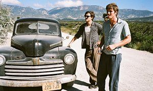 Sam Riley as Sal Paradise and Garrett Hedlund as Dean Moriarty in On the Road.
