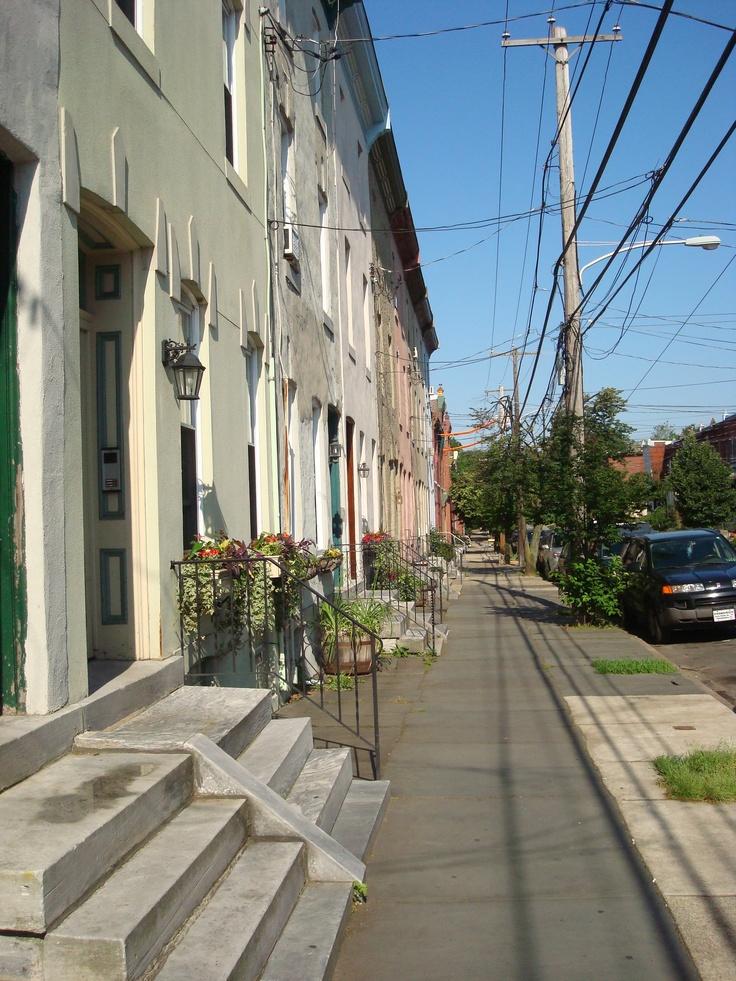 Row houses neighboring the Philadelphia Art Museum.