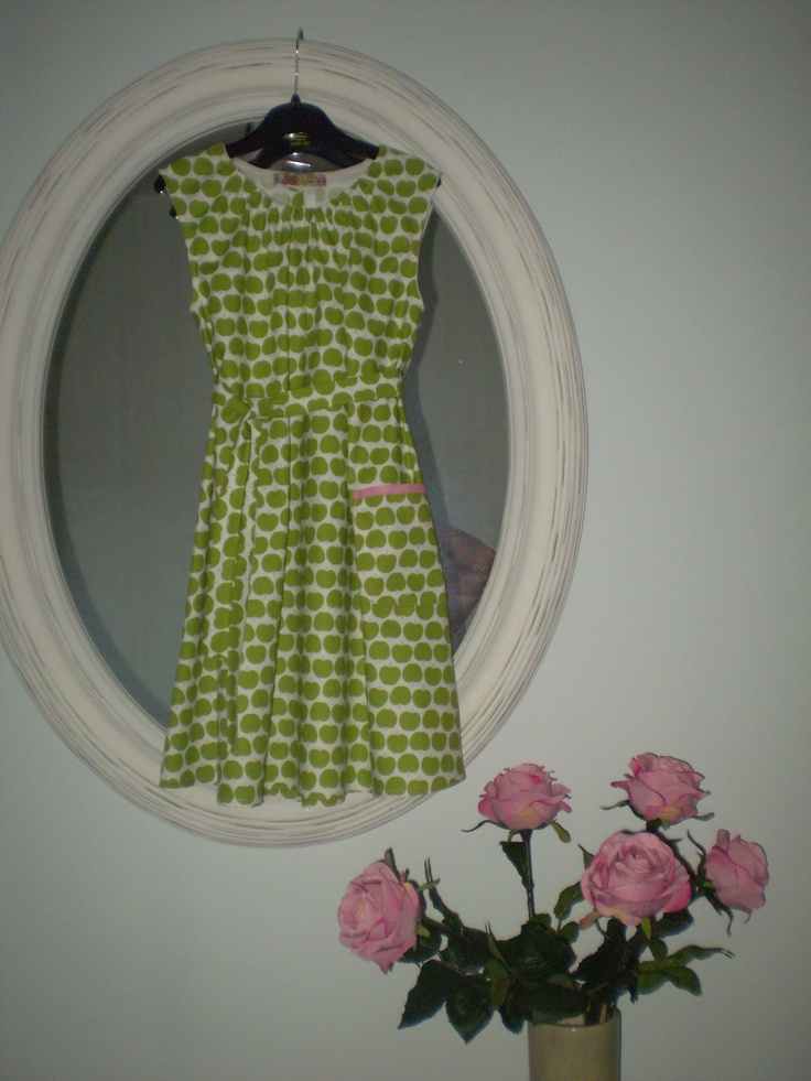 Hand made with Happiness! Girls Dress made with remnant from Ditto fabrics in Brighton(Truly lovely selection of fabrics)