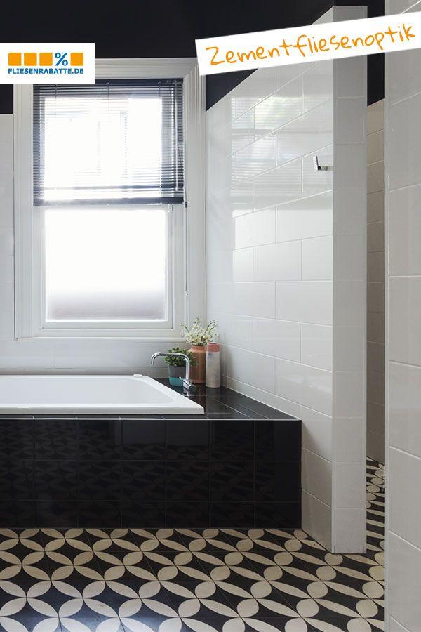 So Ein Badezimmer Mit Designfliesen In Zementfliesen Optik