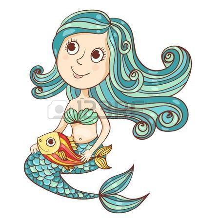 Sirena con pesce isolato su bianco Vector cartoon illustrazione  Archivio Fotografico