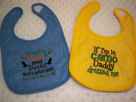 Trucks Bucks and Ducks That's What Little Boys are Made of - Camo Baby Boy Bib Set by grinsandgigglesbaby1, $14.99