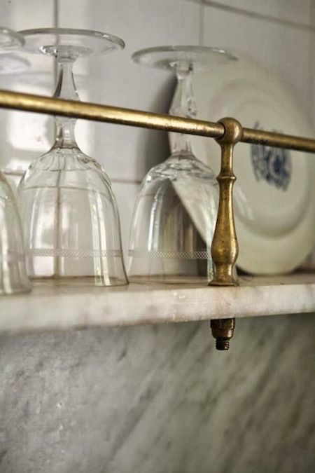 LOVE this french bistro shelving! A collection of design ideas for no window over the kitchen sink.