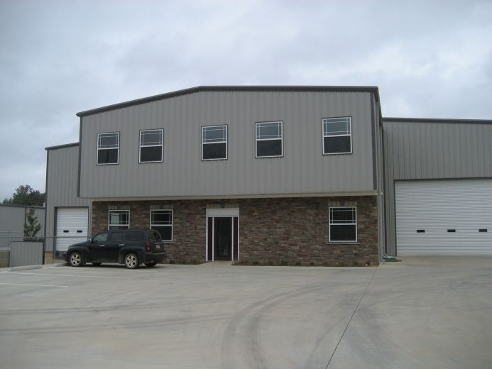 This is a pre engineered metal commercial two story for Two story metal building